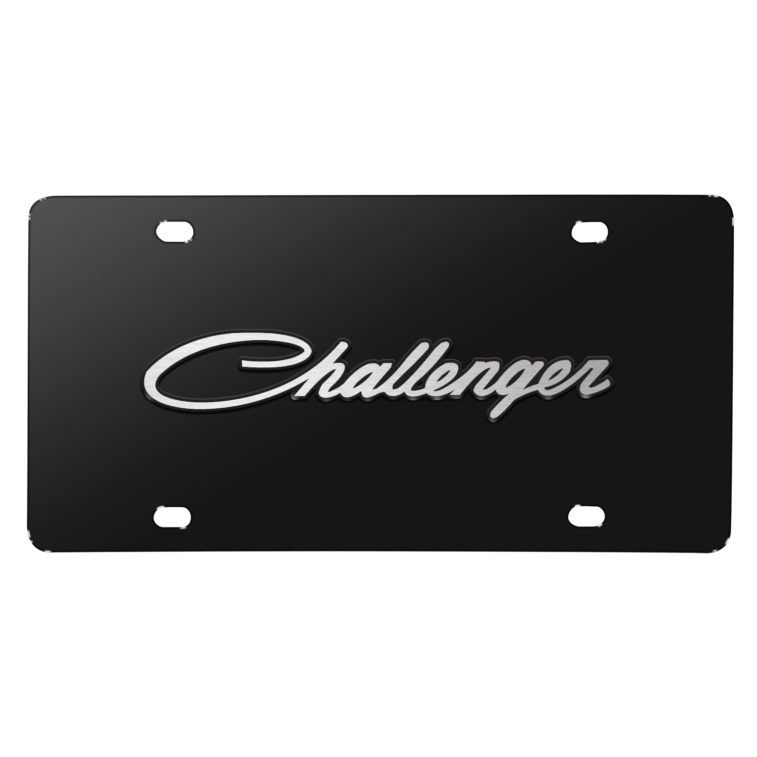 Dodge Challenger Classic 3D Logo on Black Stainless Steel License Plate
