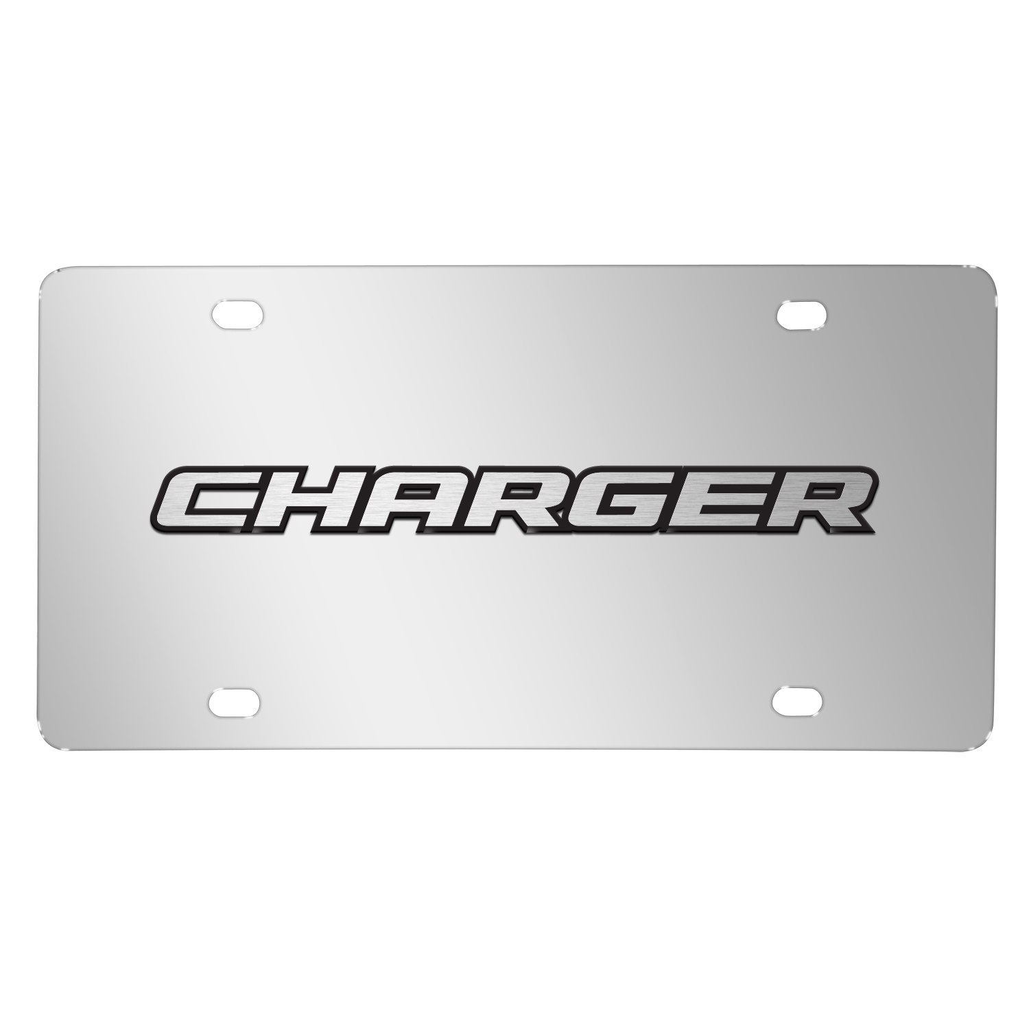Dodge Charger 3D Logo on Chrome Stainless Steel License Plate