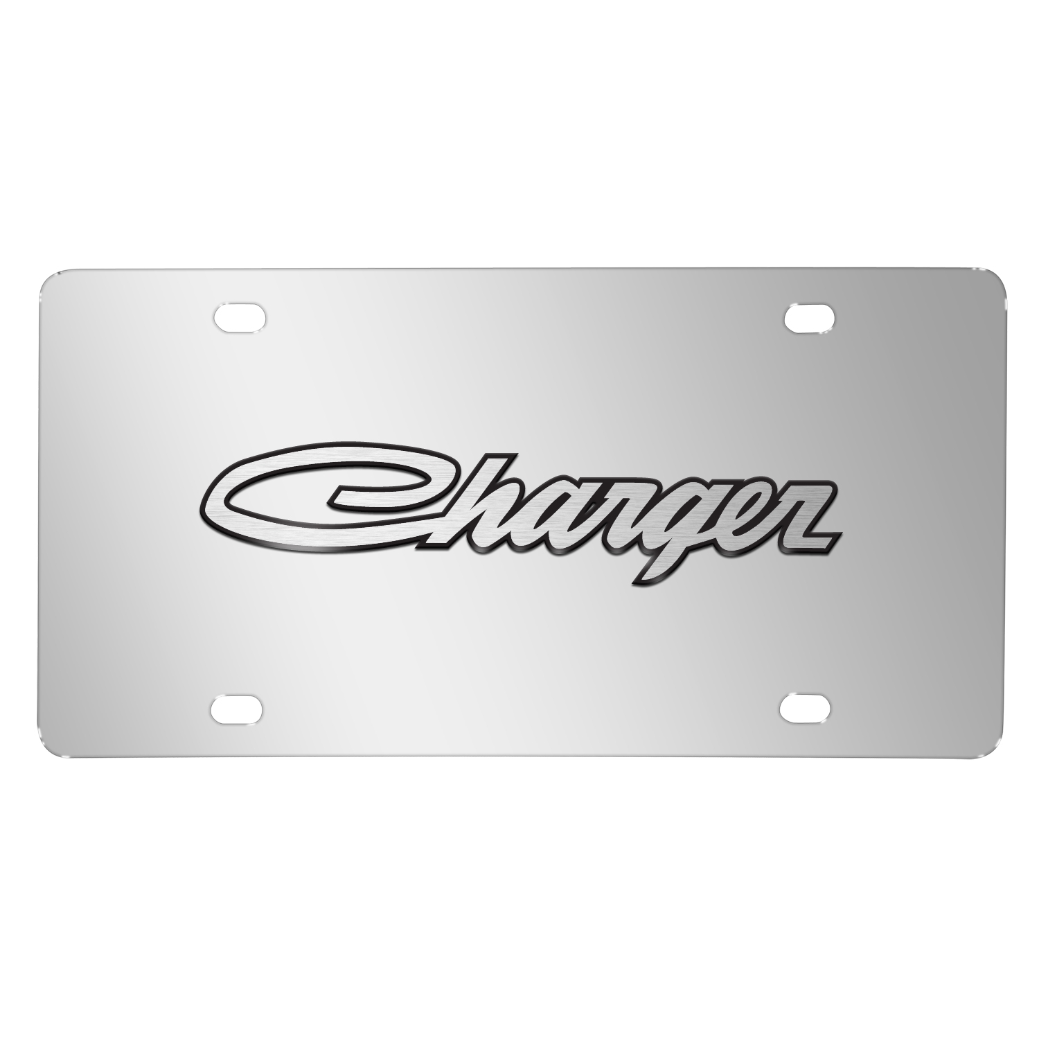 Dodge Charger Classic 3D Logo on Chrome Stainless Steel License Plate
