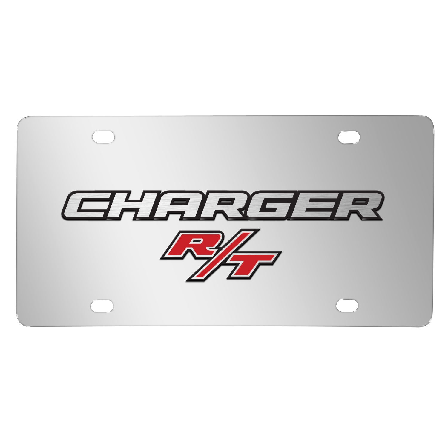Dodge Charger R/T 3D Logo on Chrome Stainless Steel License Plate