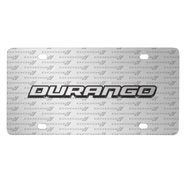 Dodge Durango 3D Logo on Logo Pattern Brushed Aluminum License Plate