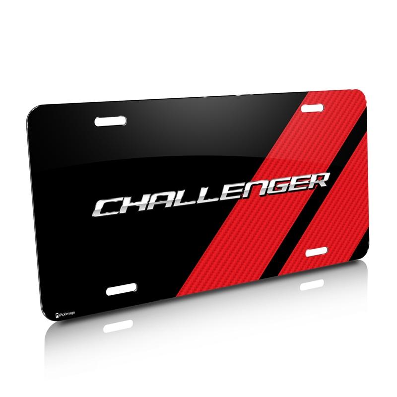 Dodge Challenger Carbon Fiber Look Red Stripe Graphic Aluminum License Plate