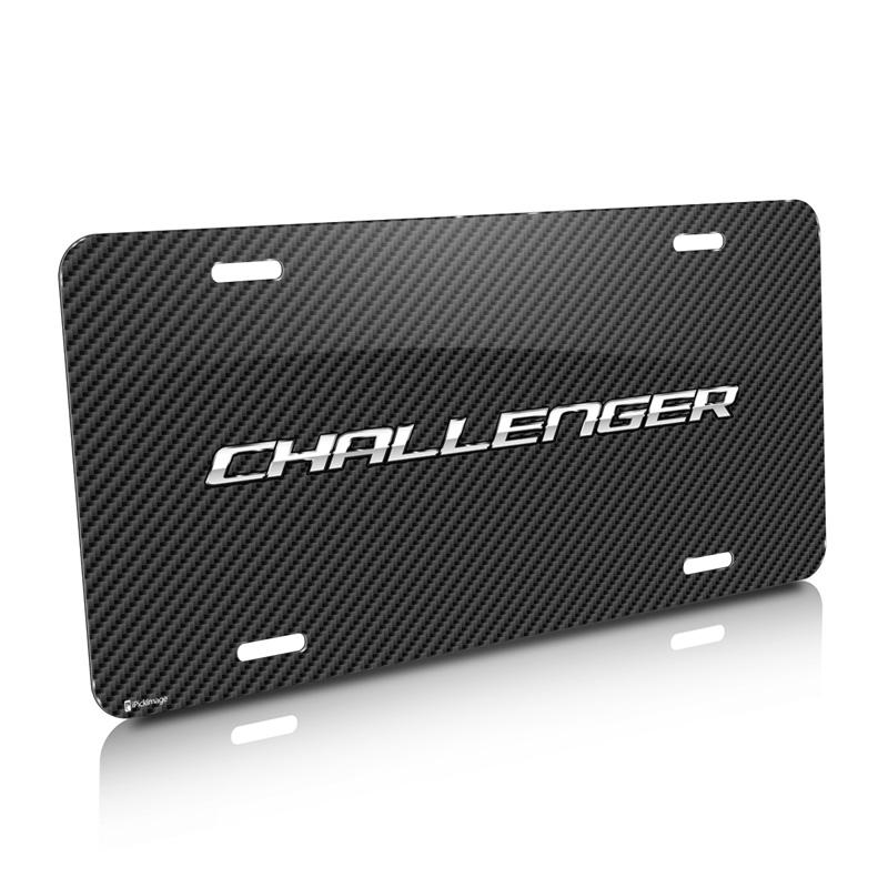 Dodge Challenger Carbon Fiber Look Graphic Aluminum License Plate