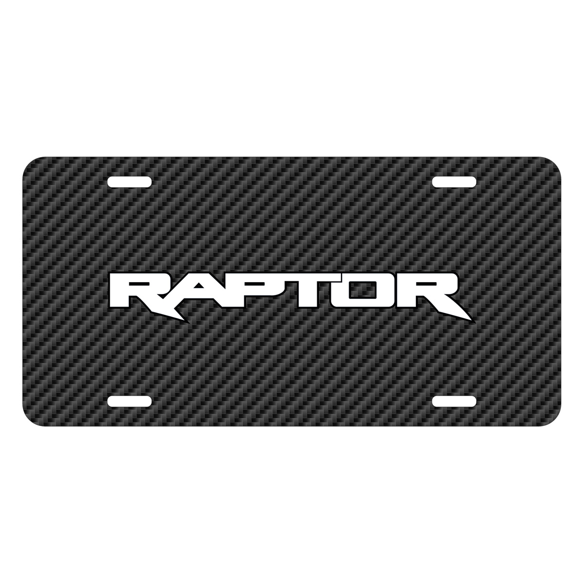 Ford F-150 Raptor 2017 Black Carbon Fiber Texture Graphic UV Metal License Plate