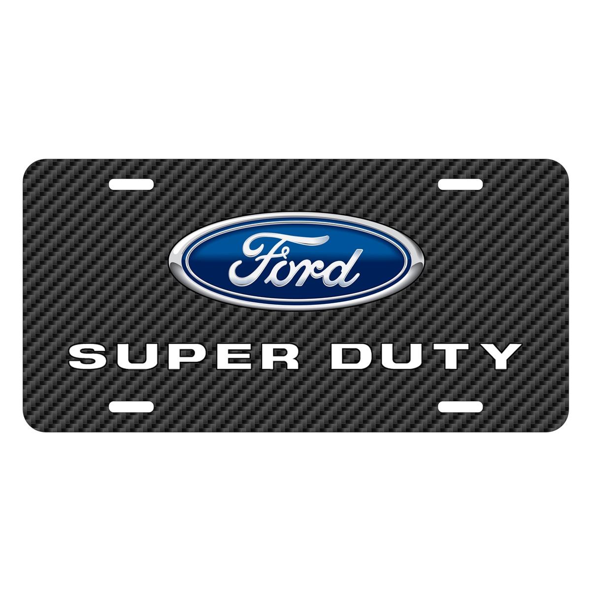 Ford Super-Duty Black Carbon Fiber Texture Graphic UV Metal License Plate