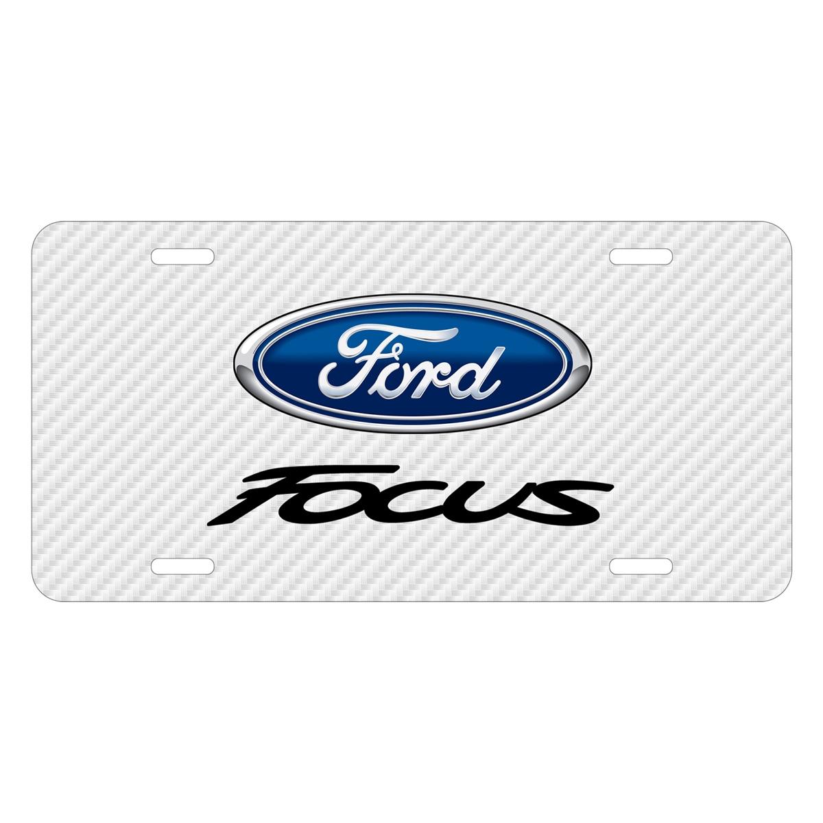 Ford Focus White Carbon Fiber Texture Graphic UV Metal License Plate