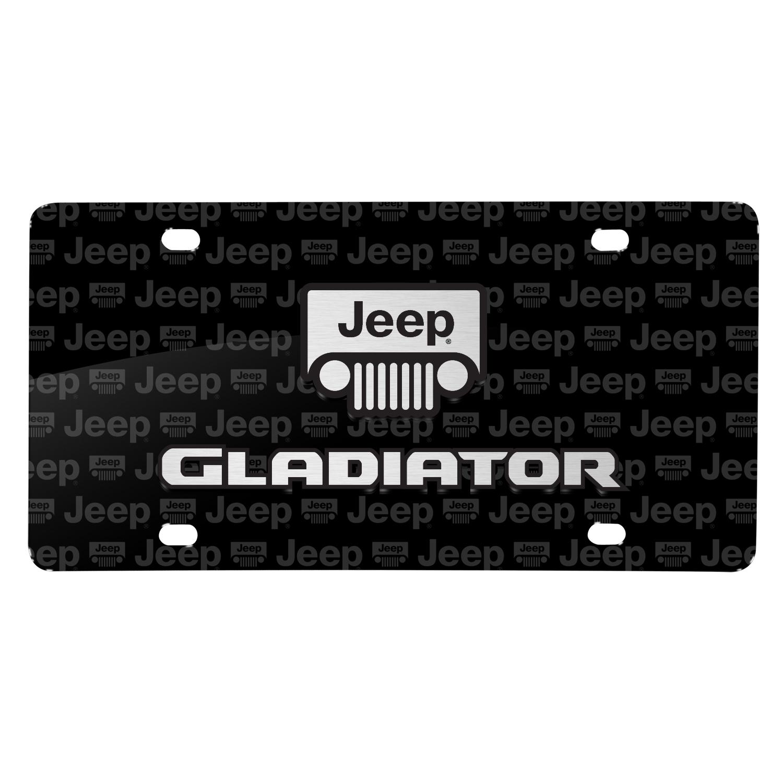 Jeep Gladiator 3D Logo on Logo Pattern Black Aluminum License Plate