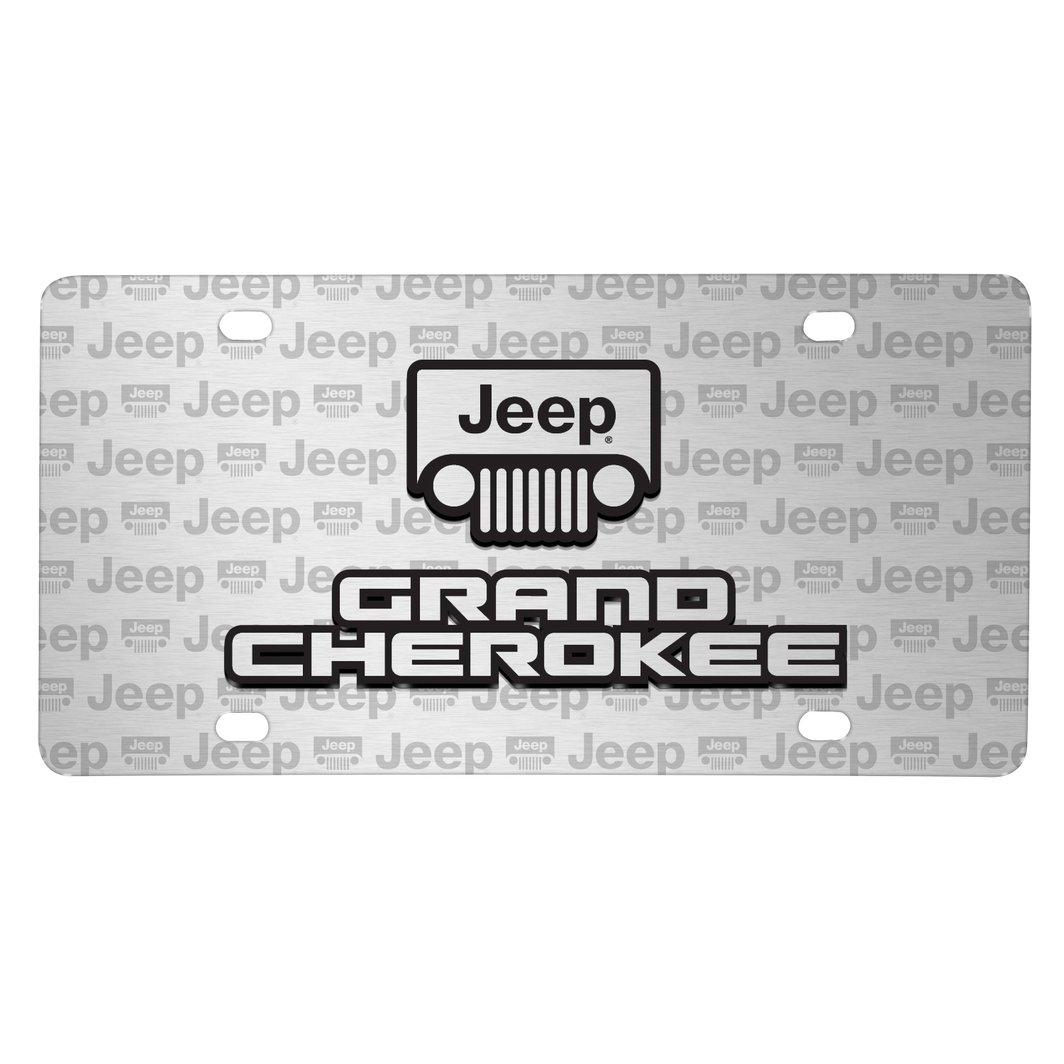Jeep Grand Cherokee 3D Logo on Logo Pattern Brushed Aluminum License Plate