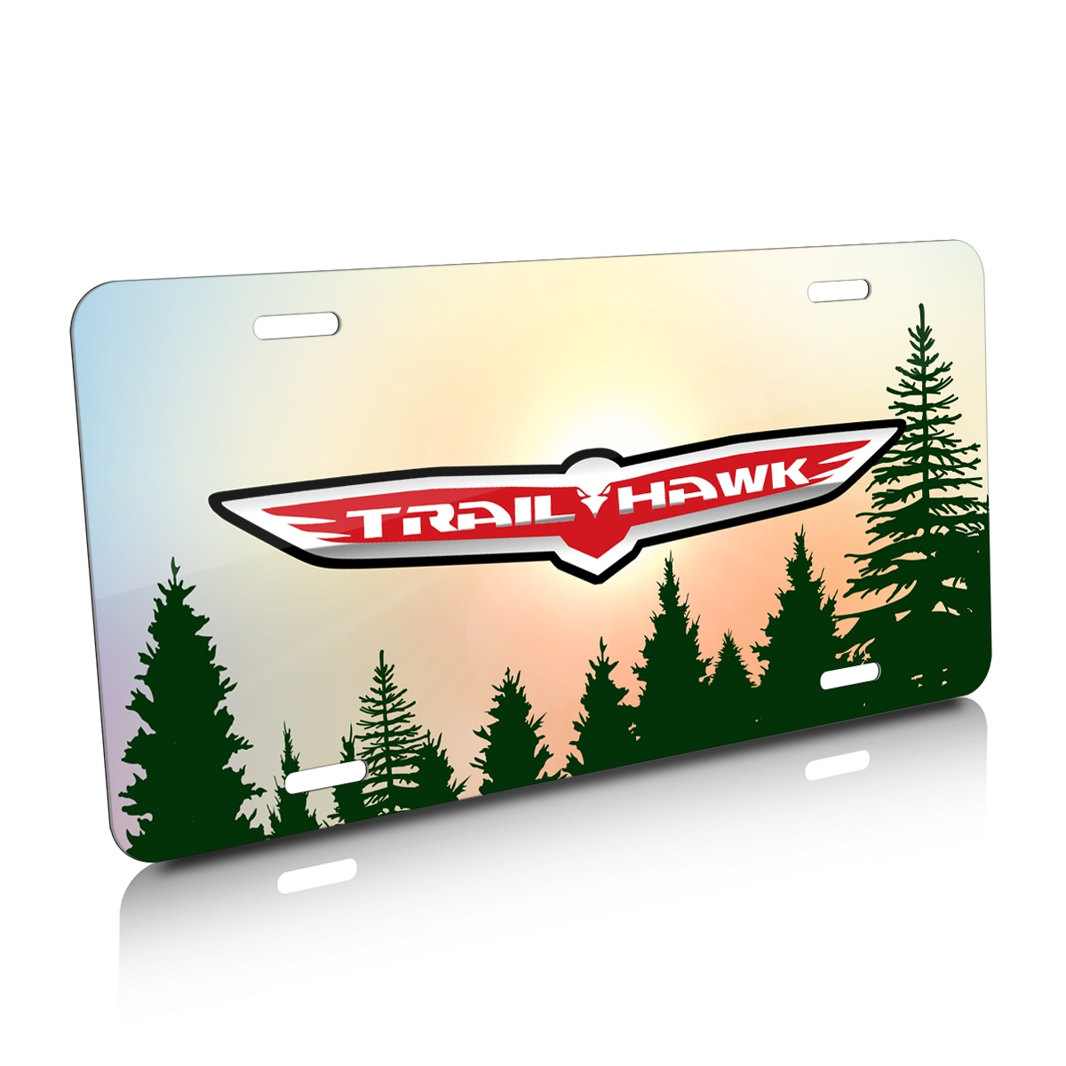 Jeep Trailhawk Green Forrest Sillhouette Graphic Aluminum License Plate