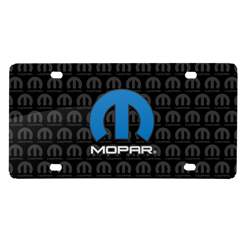 Mopar 3D Logo on Logo Pattern Black Aluminum License Plate