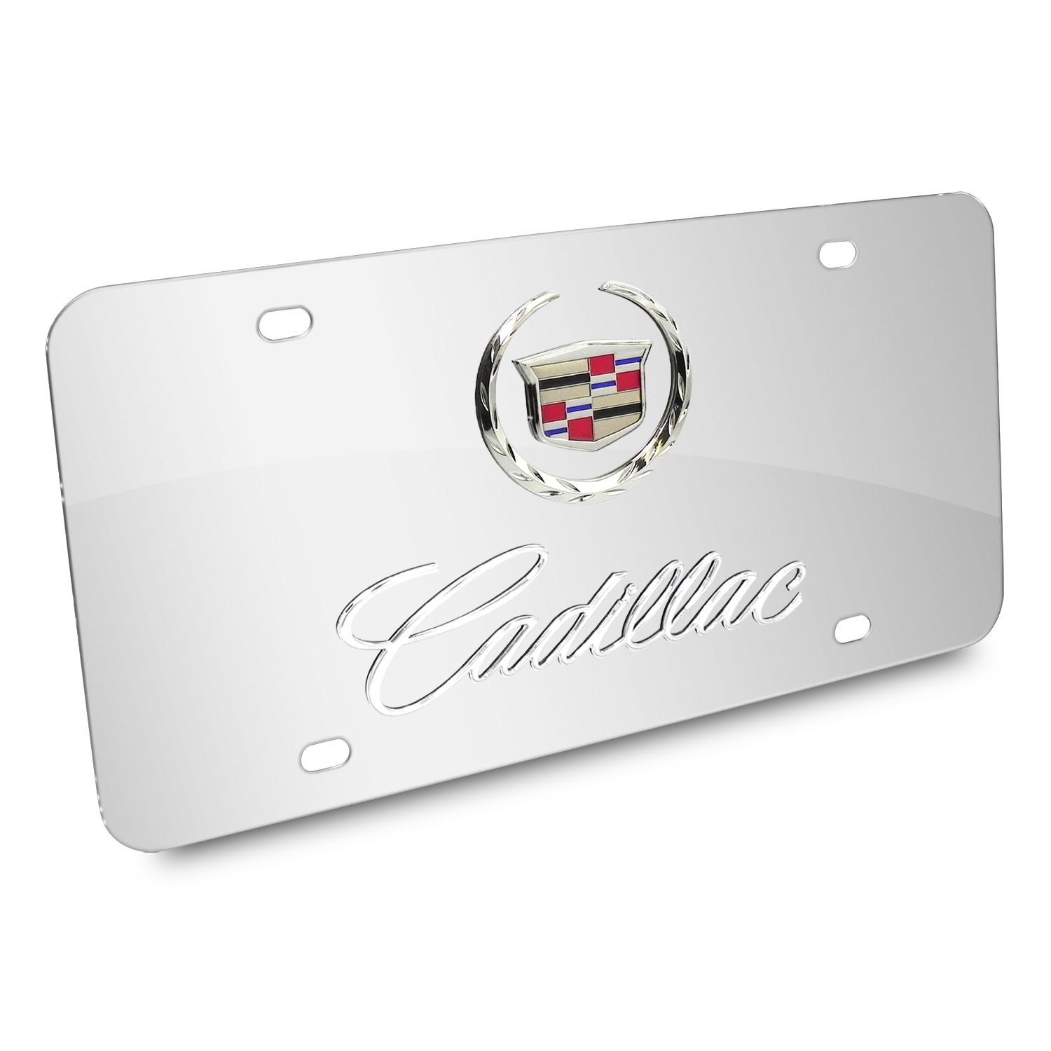 Cadillac Double 3D Logo Chrome Stainless Steel License Plate