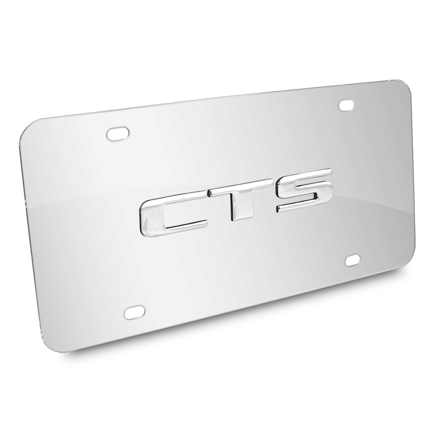 Cadillac CTS Name 3D Logo Chrome Stainless Steel License Plate