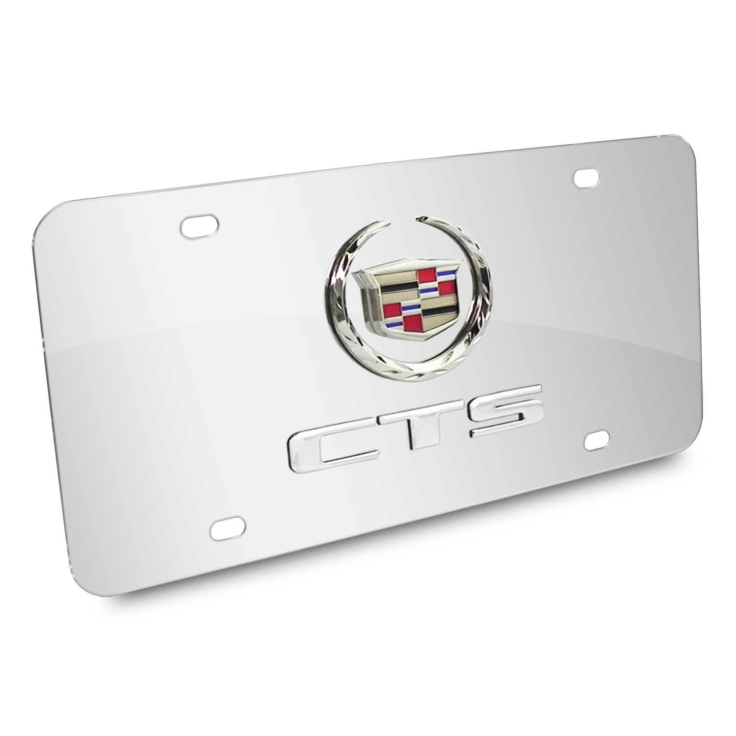 Cadillac CTS Double 3D Logo Chrome Stainless Steel License Plate