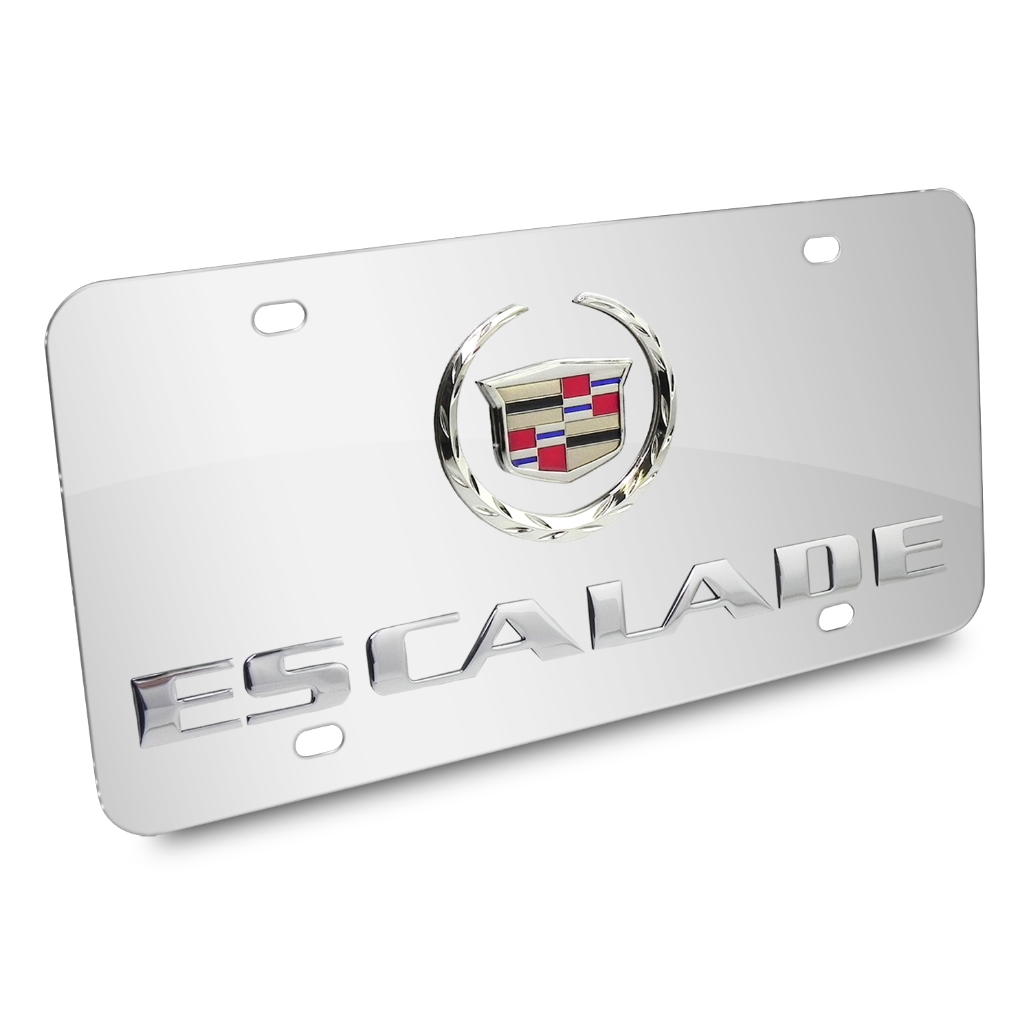 Cadillac Escalade Double 3D Logo Chrome Stainless Steel License Plate