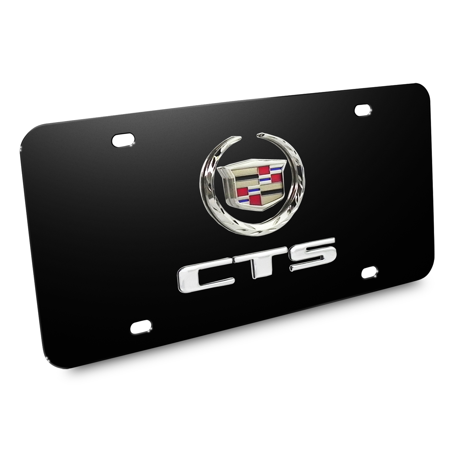 Cadillac CTS Double 3D Logo Black Stainless Steel License Plate