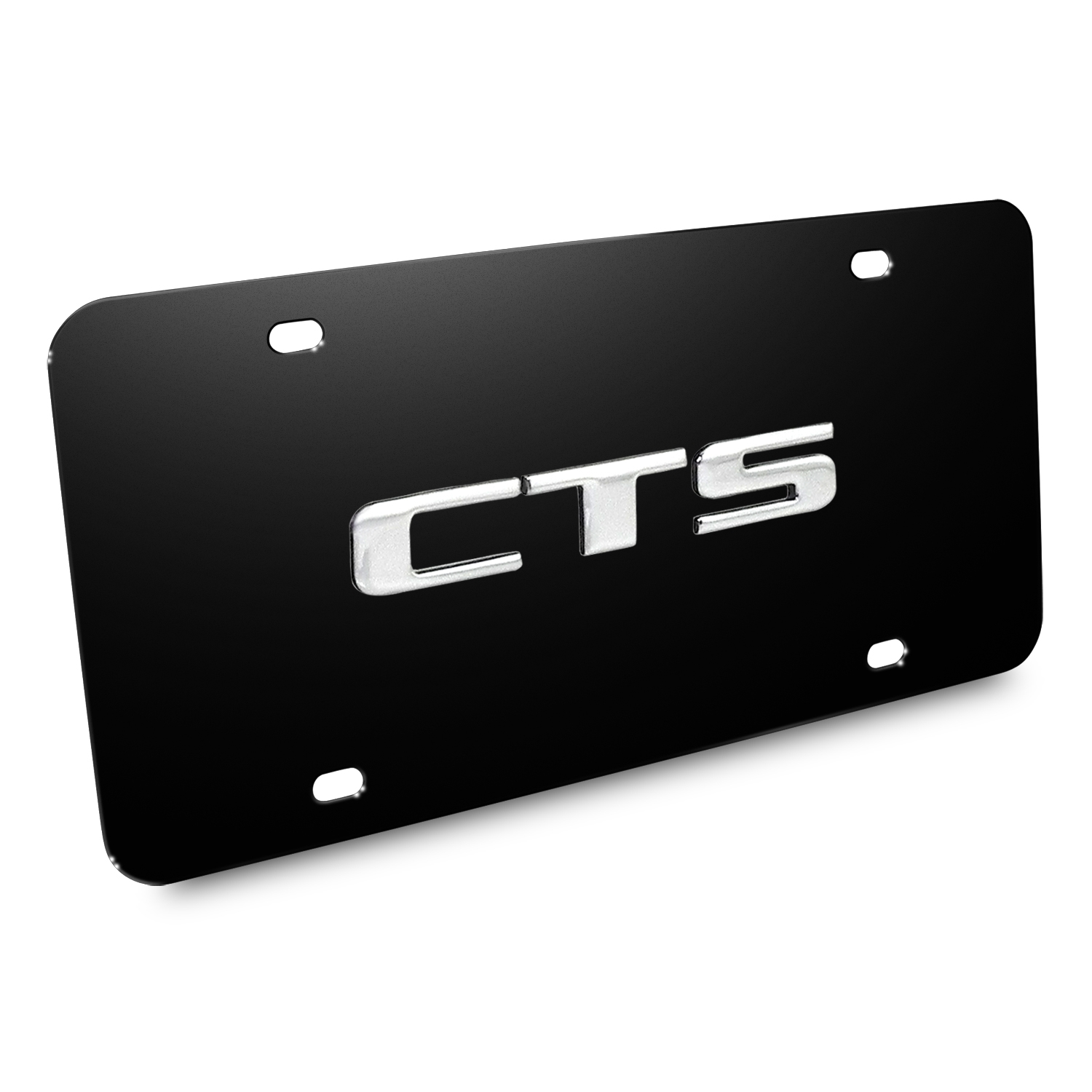 Cadillac CTS Name 3D Logo Black Stainless Steel License Plate