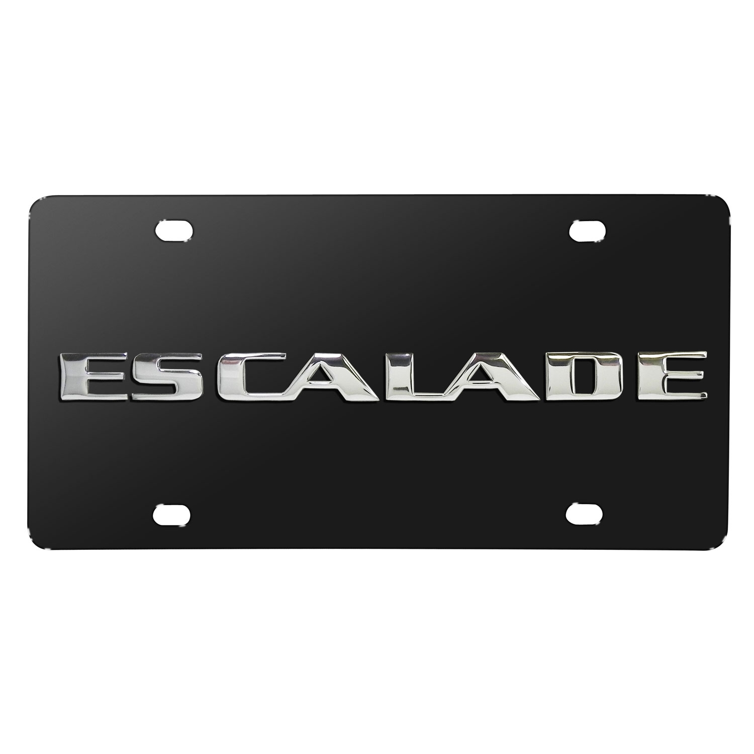Cadillac Escalade Name 3D Logo Black Stainless Steel License Plate