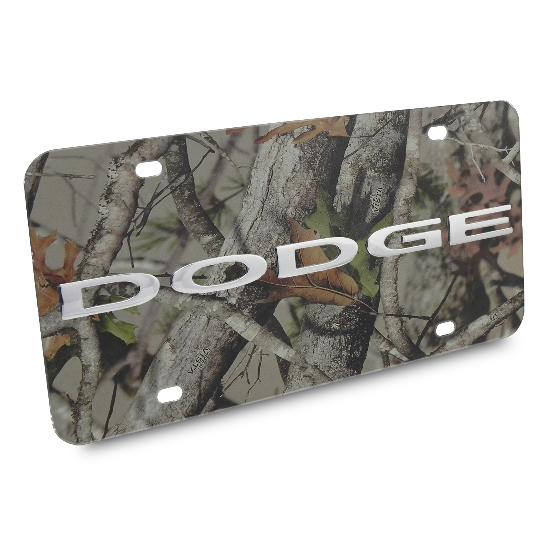 Dodge Nameplate/Trucks 3D Logo Camo Stainless Steel License Plate
