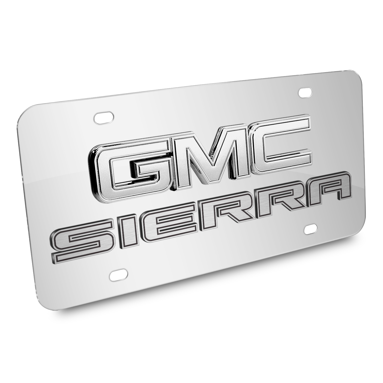 GMC Sierra Double 3d Logo Chrome Stainless Steel License Plate