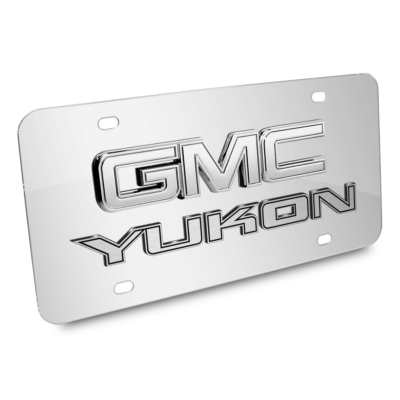 GMC Yukon Double 3D Logo Chrome Stainless Steel License Plate