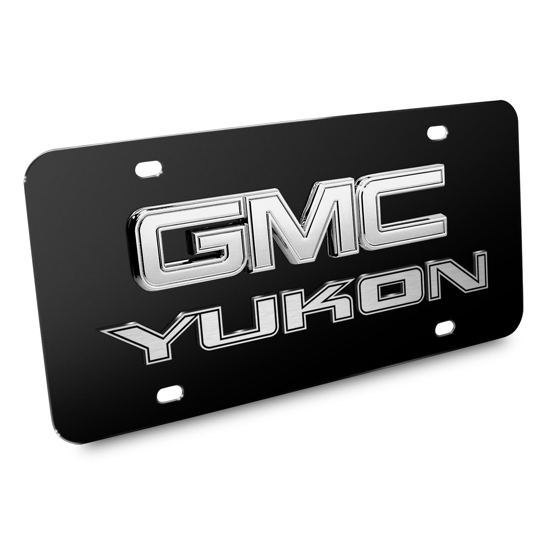 GMC Yukon Double 3d Logo Black Stainless Steel License Plate
