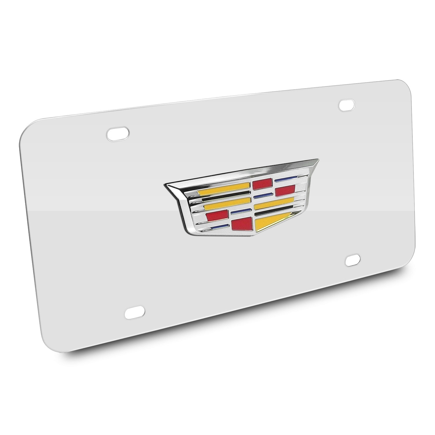 Cadillac Crest 3d Logo Chrome Stainless Steel License Plate