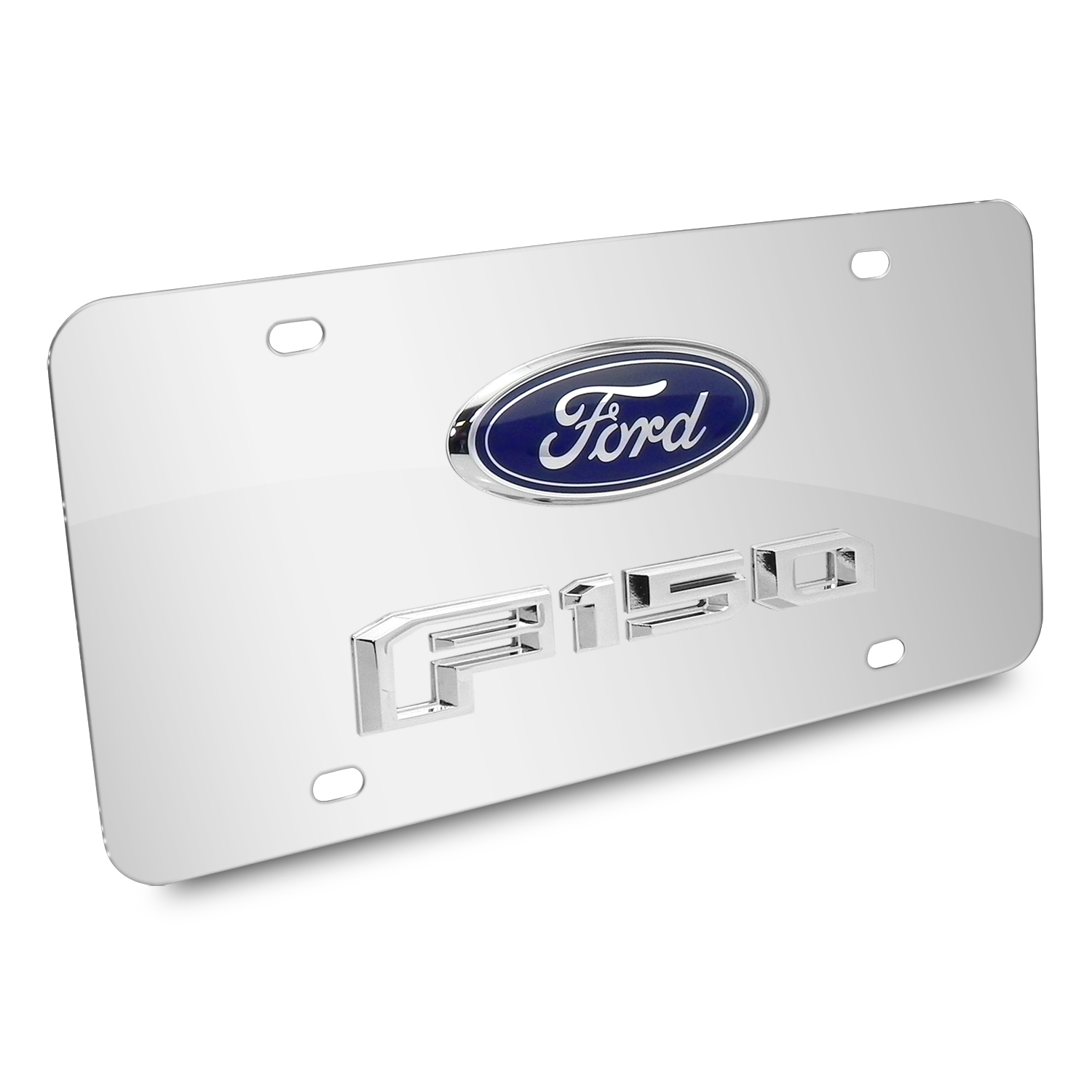 Ford F-150 2015 up Double 3D Logo Chrome Stainless Steel License Plate