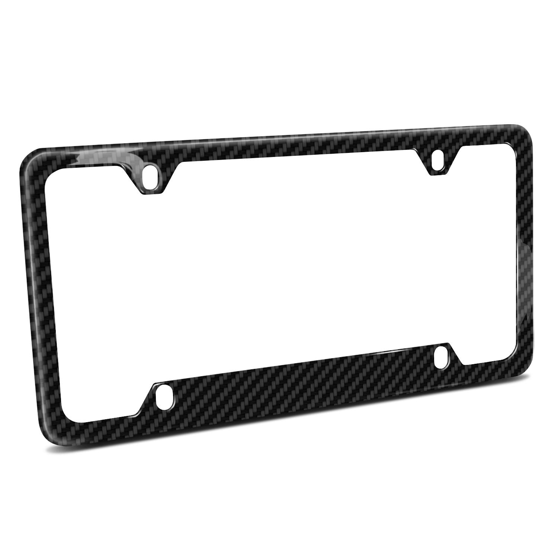Real Carbon Fiber UV Resistant Glossy Finish 4 Holes 50 States Black License Plate Frame