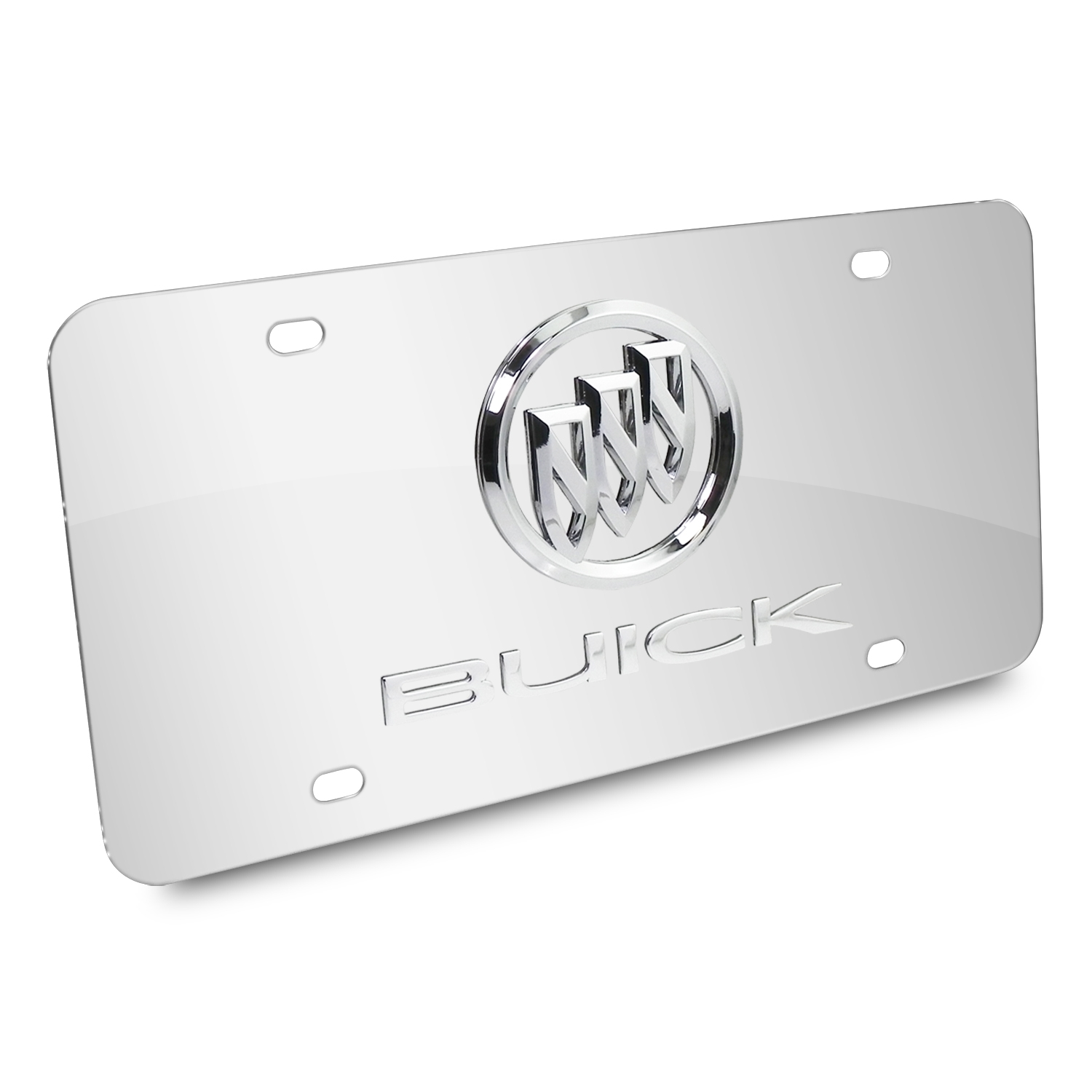 Buick Double 3D Logo Chrome Stainless Steel License Plate