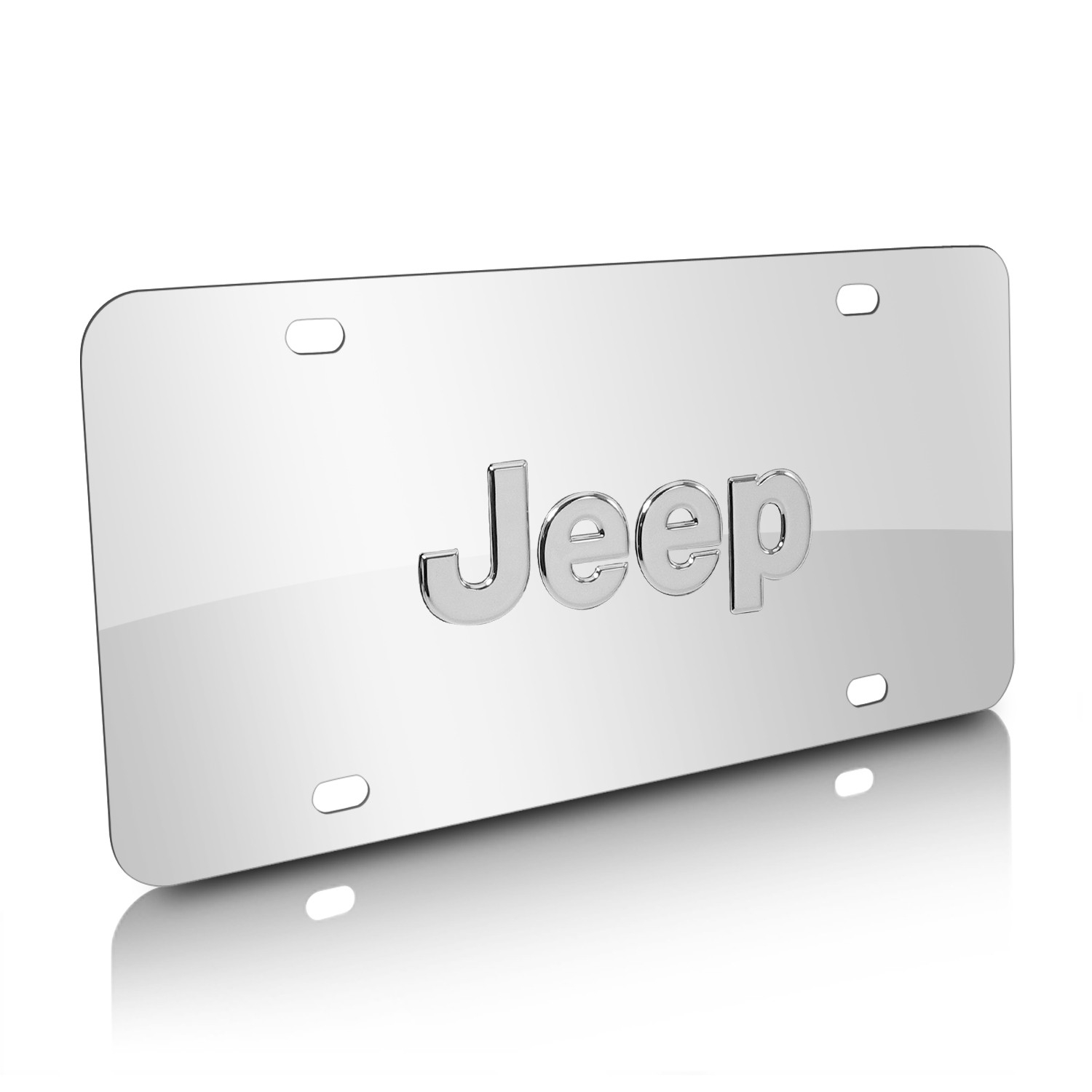 Jeep Nameplate 3D Logo Chrome Stainless Steel License Plate