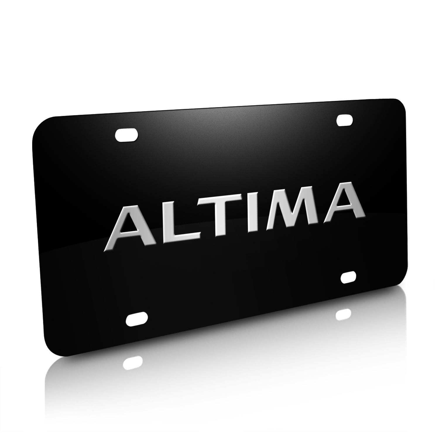 Nissan Altima Nameplate 3D Logo Black Stainless Steel License Plate