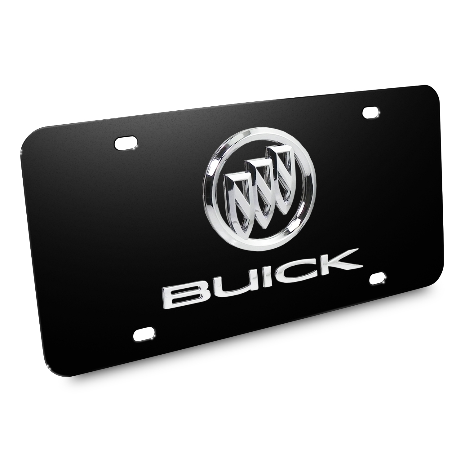 Buick Double 3D Logo Black Stainless Steel License Plate