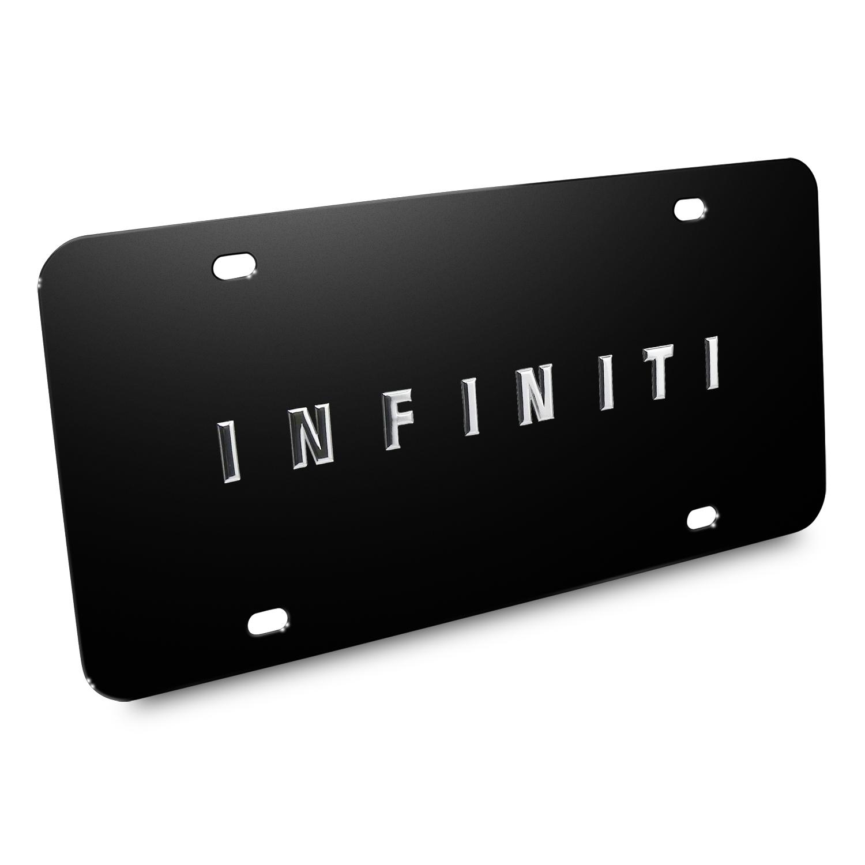 Infiniti 3D Name Logo Black Stainless Steel License Plate