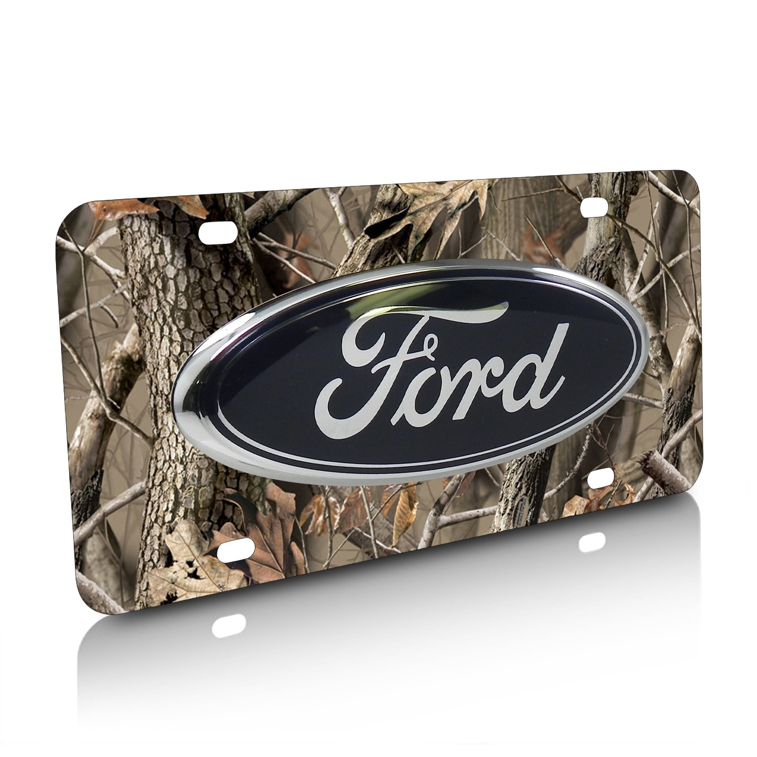 Ford Oval Trucks 3D Logo Camo Stainless Steel License Plate