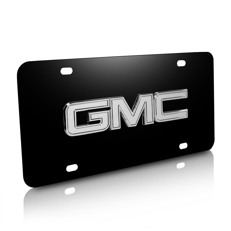 GMC Chrome 3D Logo Black Stainless Steel License Plate