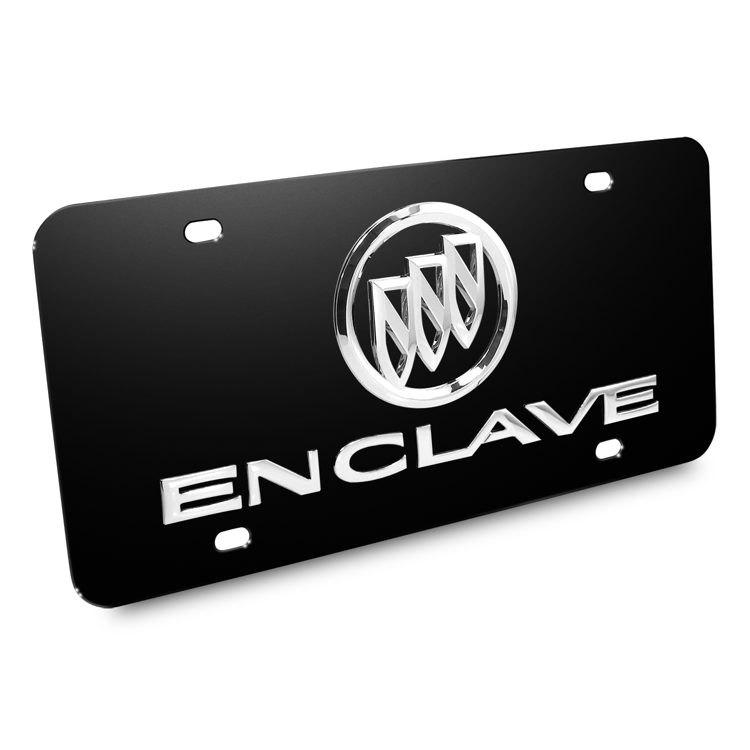 Buick Enclave 3D Logo Black Stainless Steel License Plate