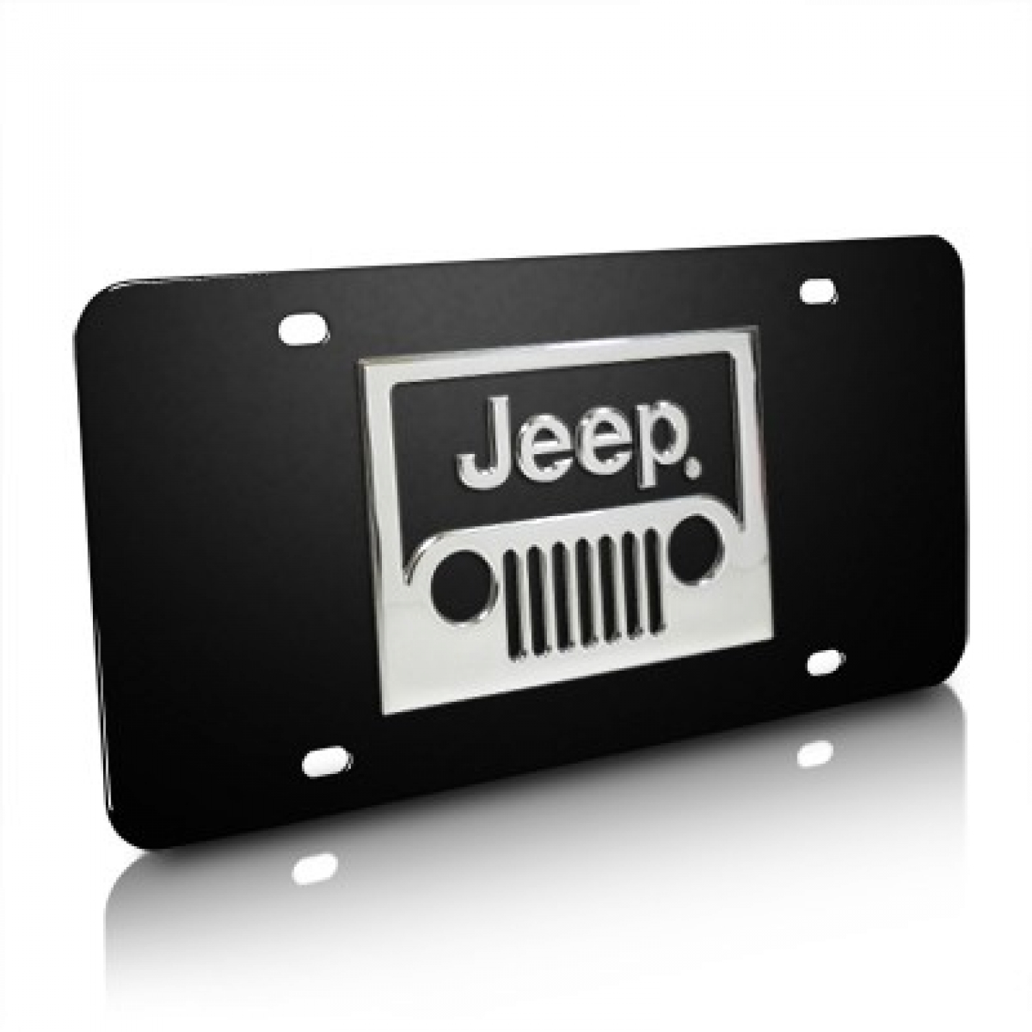 Jeep Grille 3D Logo Black Stainless Steel License Plate