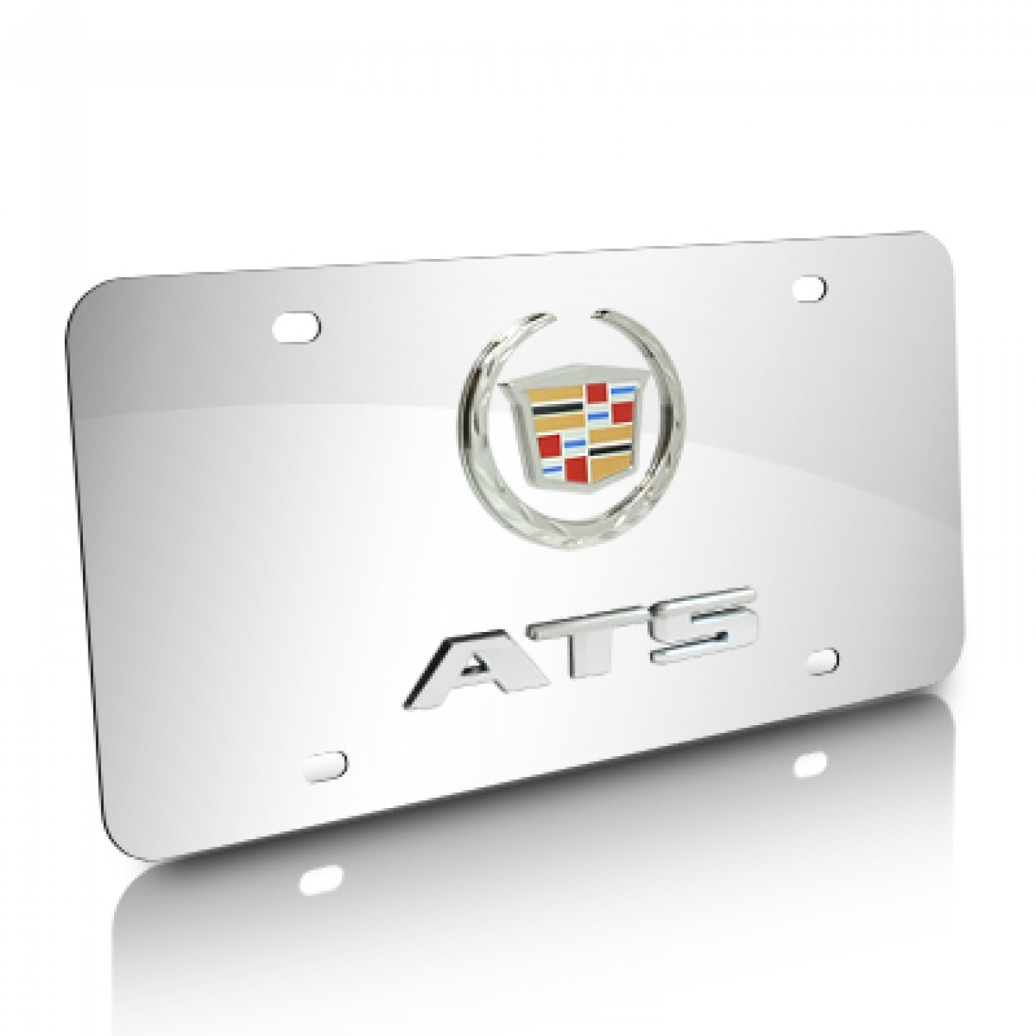 Cadillac ATS Double 3D Logo Chrome Stainless Steel License Plate