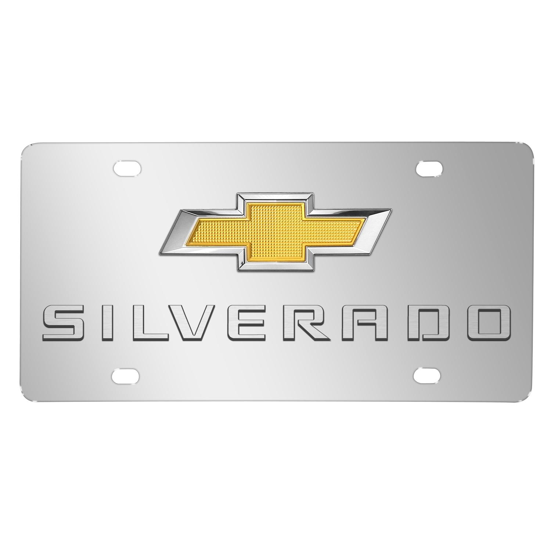 Chevrolet Silverado New Gold Bowtie 3D Logo Chrome Stainless Steel License Plate