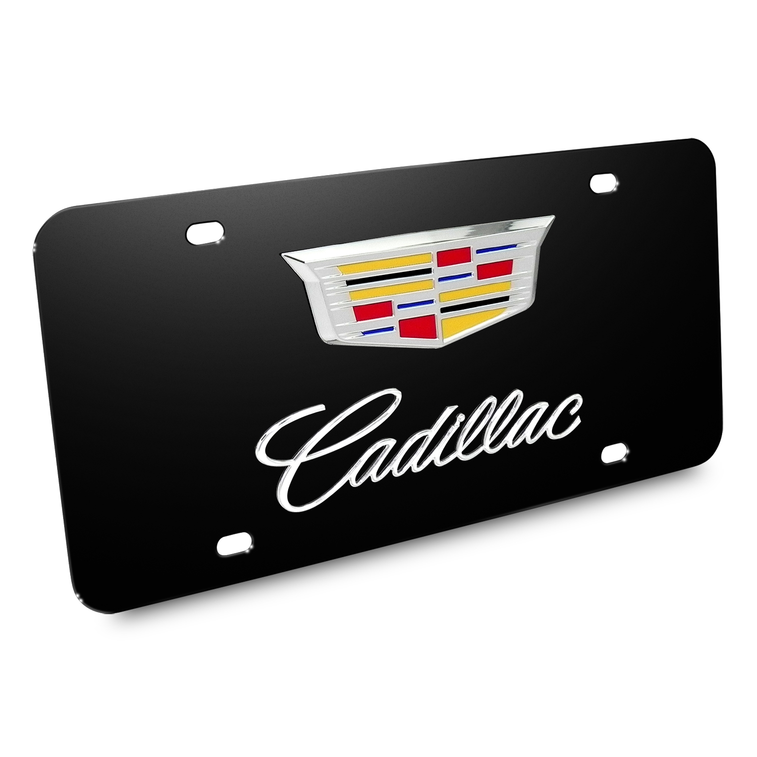 Cadillac Crest Double 3D Logo Black Stainless Steel License Plate