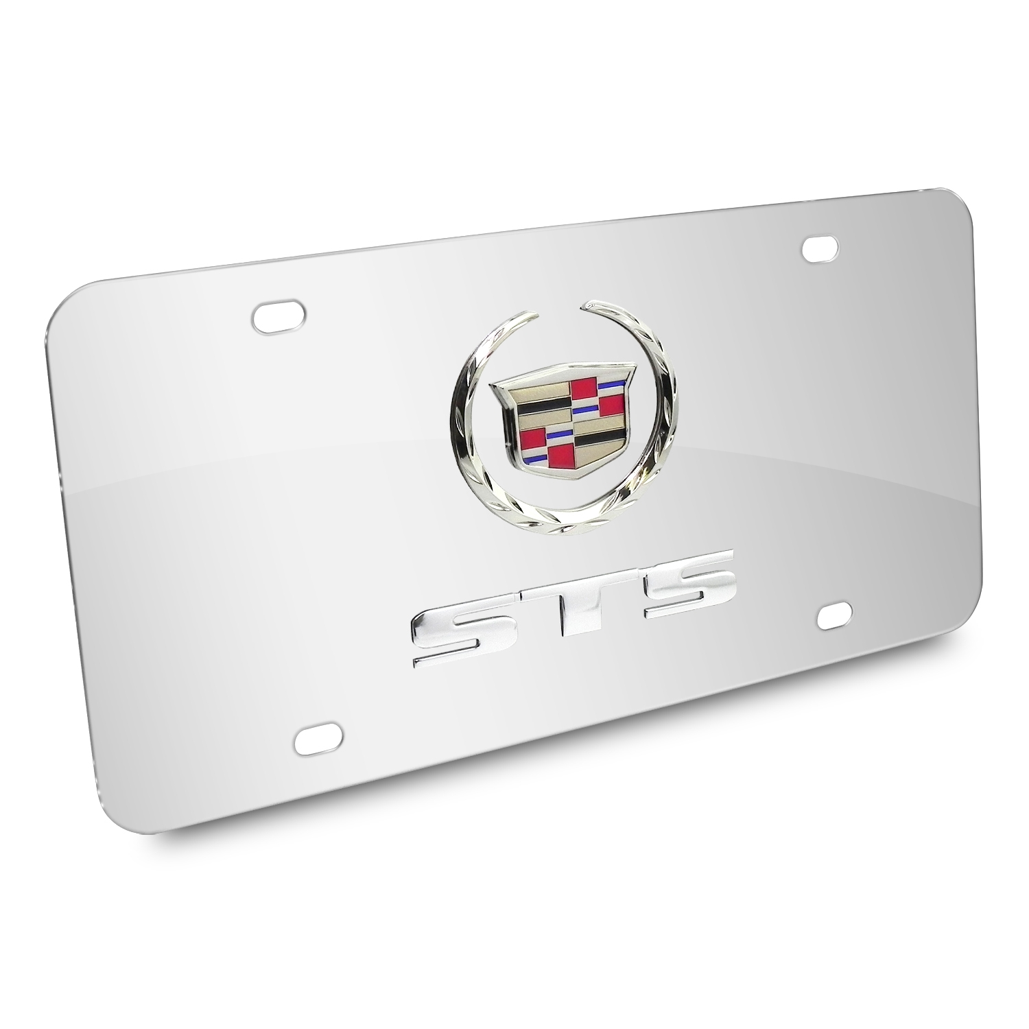 Cadillac STS Double 3D Logo Chrome Stainless Steel License Plate