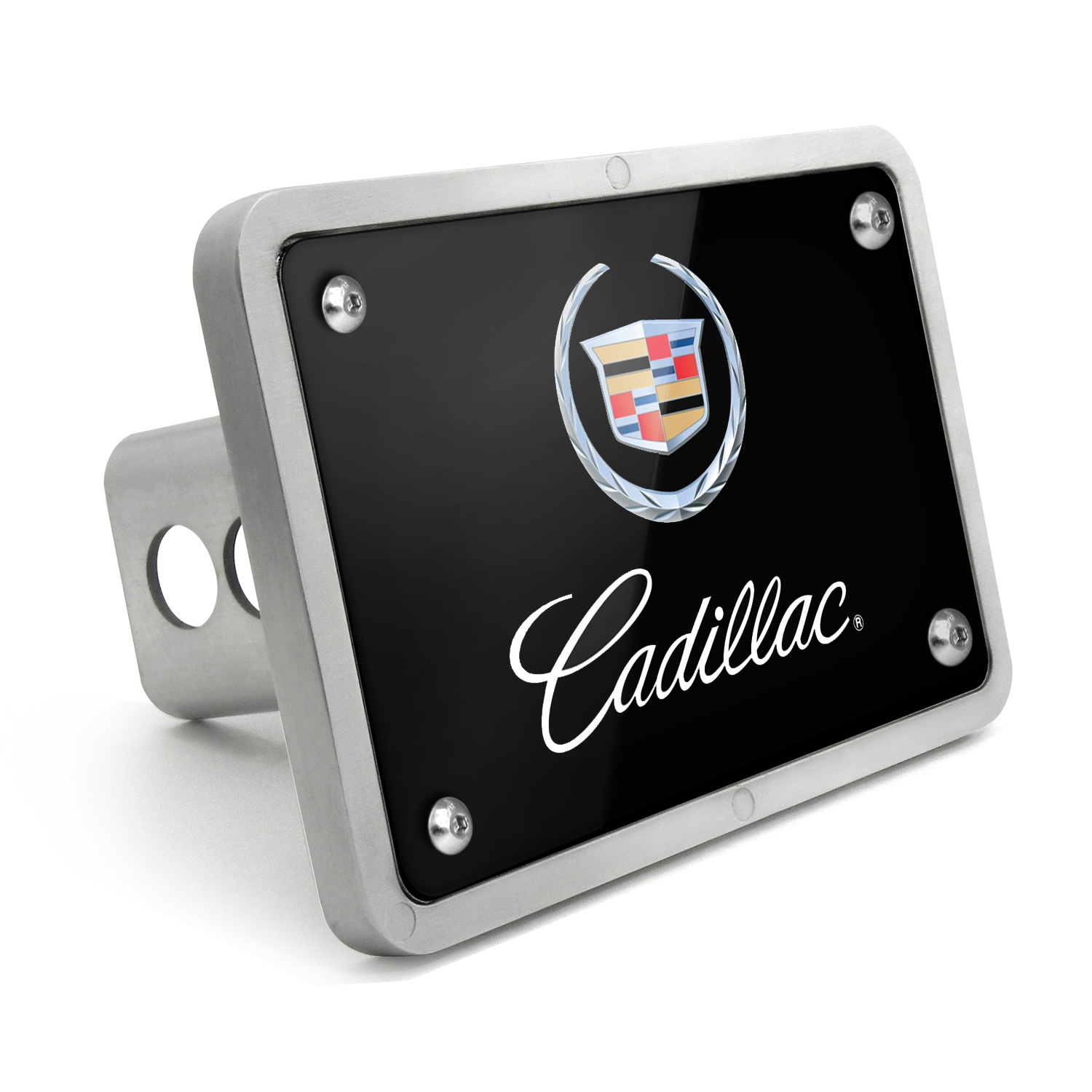 Cadillac Logo 2002 UV Graphic Black Billet Aluminum 2 inch Tow Hitch Cover