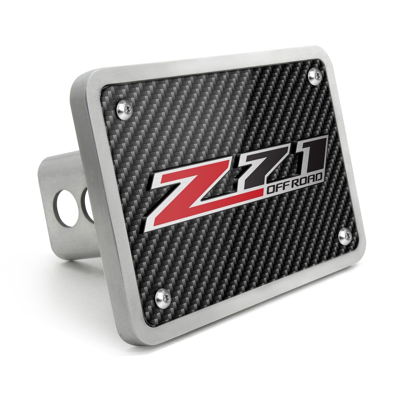 Chevrolet Silverado Z71 Off Road 3D Logo Carbon Fiber Texture Billet Aluminum 2 inch Tow Hitch Cover