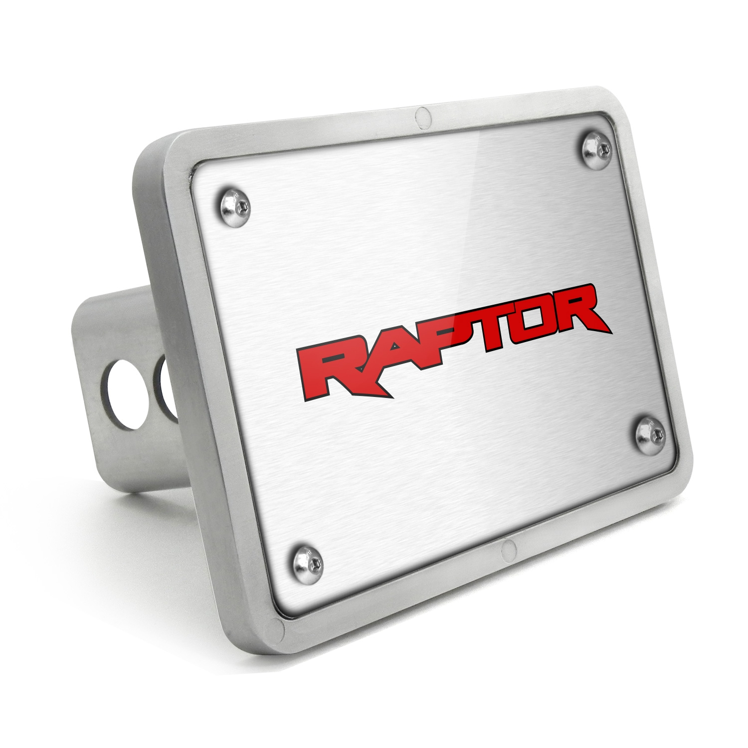 Ford Raptor 2017 in Red UV Graphic Brushed Silver Billet Aluminum 2 inch Tow Hitch Cover