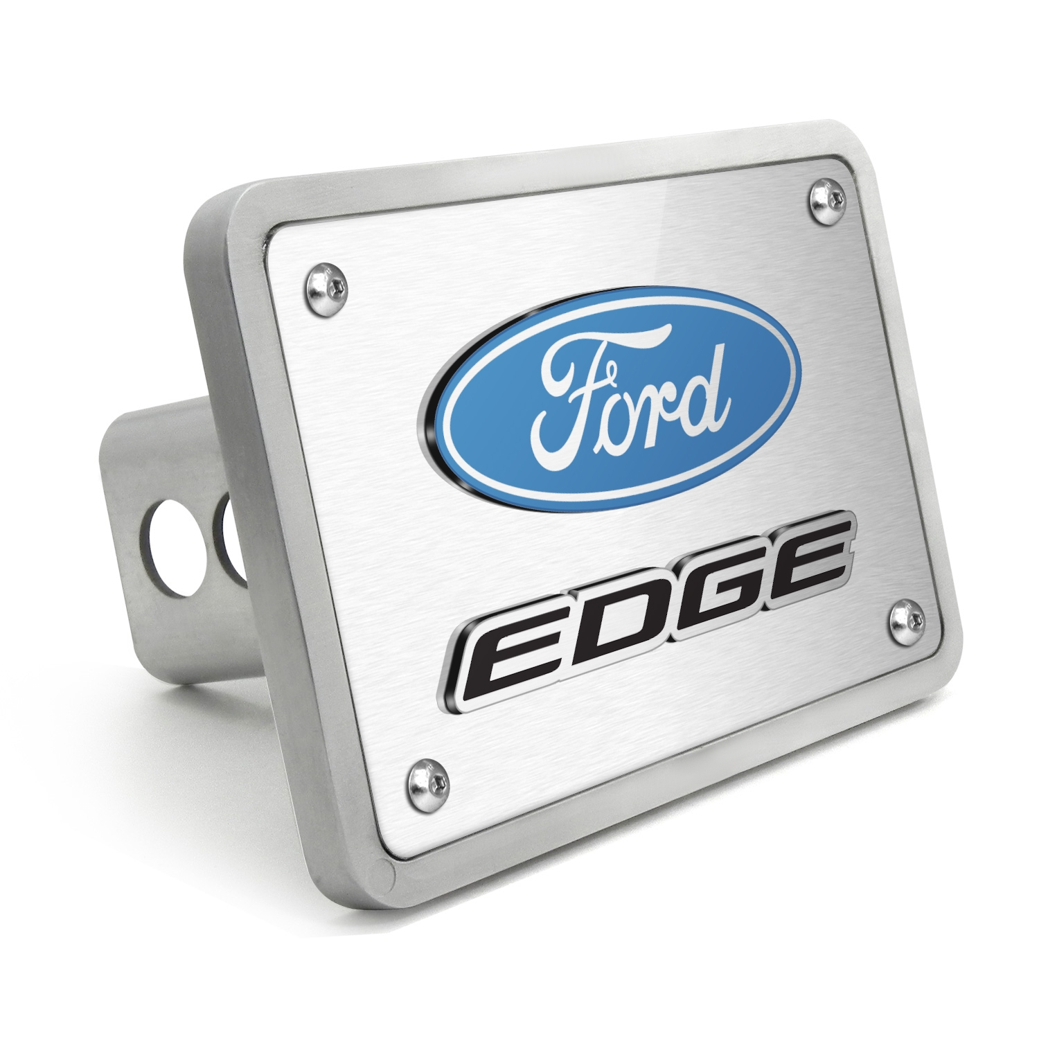 """Ford Edge 3D Logo Brushed 3/8"""" thick Billet Aluminum 2 inch Tow Hitch Cover"""