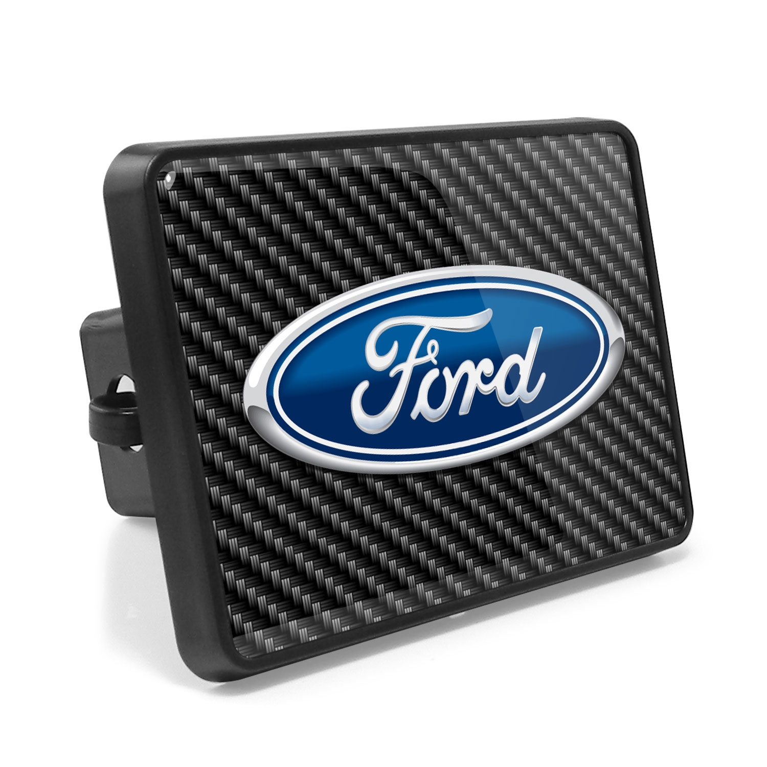 Ford Logo Carbon Fiber Look UV Graphic Metal Plate on ABS Plastic 2 inch Tow Hitch Cover