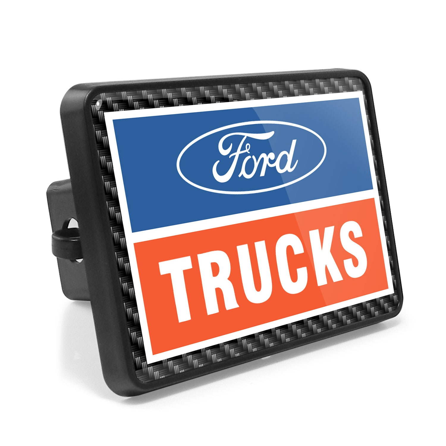 Ford Trucks Carbon Fiber Look UV Graphic Metal Plate on ABS Plastic 2 inch Tow Hitch Cover