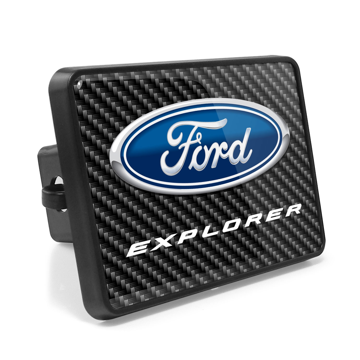 Ford Explorer Carbon Fiber Look UV Graphic Metal Plate on ABS Plastic 2 inch Tow Hitch Cover