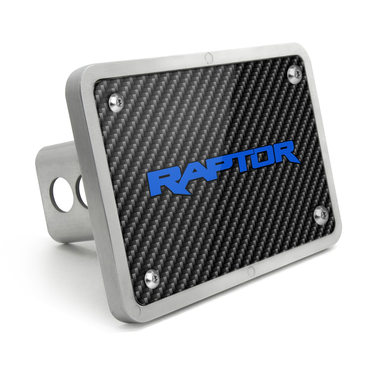 Ford Raptor 2017 to 2018 in Blue Black Carbon Fiber Texture Plate Billet Aluminum 2 inch Tow Hitch Cover