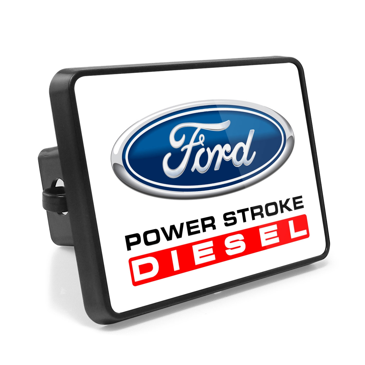 Ford Power-Stroke Diesel UV Graphic White Metal Plate on ABS Plastic 2 inch Tow Hitch Cover